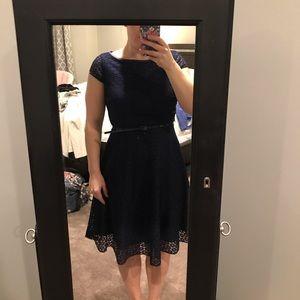 Navy lace high neck dress